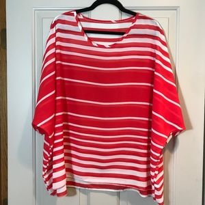 Tops - CUTE Boutique Sheer Top Red / White Stripes NEW